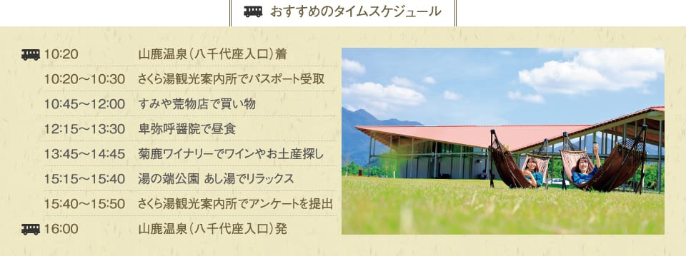 [recommended time schedule] is from yamaga hot springs (Yachiyoza entrance) by questionnaire in yamaga hot springs (with Yachiyoza)/10:20-10:30 Sakura-yu at search for wine and souvenir/15:15-15:50 Sakura-yu tourist information center in lunch/13:45-14:45 chrysanthemum deer winery in shopping/12:15-13:30 *yakohishioin in passport receipt/10:45-12:00 corner and kitchenware shop at tourist information center at submission/16:00 at 10:20
